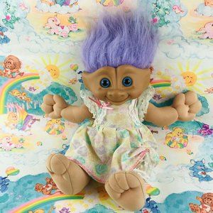 vintage 1991 purple hair treasure troll plush doll
